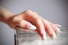 Het close-upportret van vrouwelijke hand met manicured manierspijkers Stock Foto