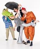 Het clowning van actoren stock fotografie