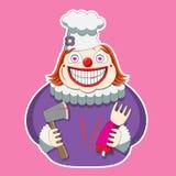 Het clownkarakter in de chef-koks hoed houdt een bijl en een lidmaat beeld vector illustratie