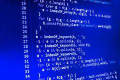 Het coderende programmerings broncodescherm Kleurrijke abstracte gegevensvertoning Het manuscript van het het Webprogramma van de Royalty-vrije Stock Fotografie