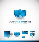 Het collectieve ontwerp van het het embleempictogram van de bedrijfslotusbloembloem Stock Foto's