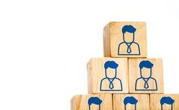 Het collectieve pictogram van het hiërarchieprofiel op houten die kubus op wit wordt geïsoleerd royalty-vrije stock afbeelding
