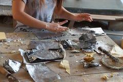 Het combineren van zilveren loodfolie en bamboedocument Stock Afbeelding