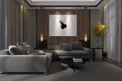 Het comfortabele binnenland van de luxewoonkamer bij nacht Stock Foto's