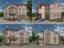 Het model, 3D teruggeven van het huis Stock Afbeeldingen