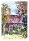 Het comfortabele romantische landschap van de waterverfdaling Buitenhuis in de de herfsttuin stock illustratie