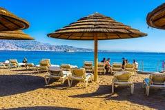 Het comfortabele strand Stock Foto