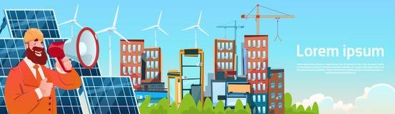 Het Comité van de de Tribune Zonne-energie van de bedrijfsmensenwind Vernieuwbare Postpresentatie royalty-vrije illustratie