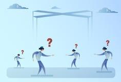 Het commerciële Blinde Doorwade Lopen van Man Group met Vraag Mark Problem Concept royalty-vrije illustratie