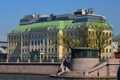 Het commerciële centrum Oostenrijker op Pirogovskaya-dijk in St. Petersburg, Rusland royalty-vrije stock fotografie
