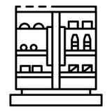 Het commerciële pictogram van de drankdiepvriezer, overzichtsstijl royalty-vrije illustratie