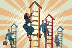 Het commerciële team beklimt op de treden vector illustratie