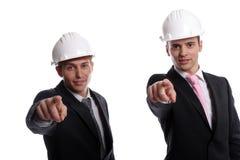 Het commerciële team gesturing Stock Foto's