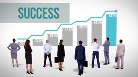 Het commerciële team letten op succesgrafiek stock illustratie