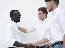 Het commerciële team ontmoet een partner stock fotografie
