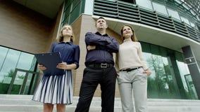 Het commerciële team vooruitzien stock footage