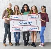 Het communautaire Vrijwilligersconcept van de Schenkingenliefdadigheidsinstelling Stock Afbeeldingen