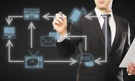 Het communicatienetwerk van de zakenmantekening Stock Afbeelding