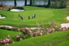 Het competeing van de golfspeler Stock Afbeelding