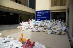 Het complexe centrum treft voor de overstroming van preventie voorbereidingen Royalty-vrije Stock Fotografie