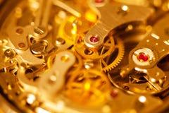 Het complexe close-up van de horlogebeweging Stock Fotografie
