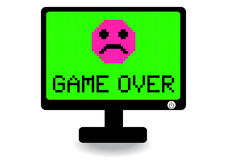Het computerscherm met spel over pictogram Stock Fotografie