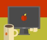 Het computerscherm op de lijst. stock illustratie