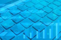 Het computertoetsenbord met moderne bedrijfsgrafiek, grafiek en kaart, brengt in de war Stock Afbeelding