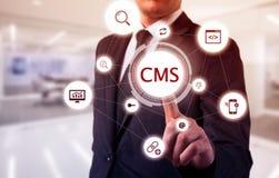 Het concept beleid van de het systeemwebsite van het cms het tevreden beheer stock fotografie