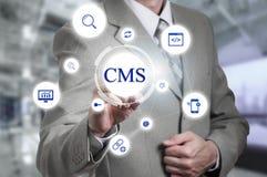 Het concept beleid van de het systeemwebsite van het cms het tevreden beheer royalty-vrije stock foto's