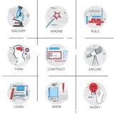 Het concept bouwt onderzoekt Nieuw het Proces van de Bedrijfs ideeinspiratie Creatief Pictogram vector illustratie