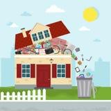 Het concept bovenmatig consumentisme Huis het barsten van materiaal T stock illustratie