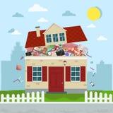 Het concept bovenmatig consumentisme Huis het barsten van materiaal Vector illustratie stock illustratie