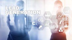 Het Concept de Analyse van de van de bedrijfs loodgeneratie Onderzoekrente Marketing Strategie Financiële Technologie stock afbeeldingen
