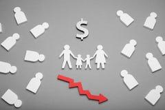 Het concept, de crisis en de hulp van de familiearmoede Begroting planning, Amerikaanse droevige ouders stock foto's