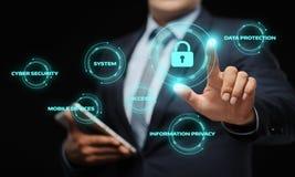 Het concept de Gegevensbescherming van de van de Bedrijfs cyberveiligheid Technologieprivacy stock fotografie