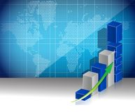Het concept de kaart van van de bedrijfs wereld grafiekwinsten Stock Fotografie