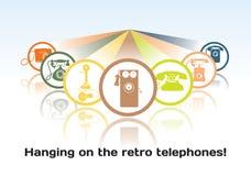 Het concept de oude telefoonpictogrammen Royalty-vrije Stock Afbeeldingen