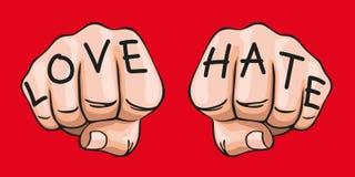 Het concept de uitdrukking van tegengesteld die gevoel, met de woorden haat en liefde op twee vuisten wordt ingeschreven royalty-vrije illustratie