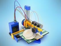 Het concept druk bitcoin op een 3d 3d printer geeft op B terug Royalty-vrije Stock Afbeelding