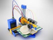Het concept druk bitcoin op een 3d 3d printer geeft op g terug Royalty-vrije Stock Fotografie
