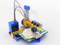 Het concept druk bitcoin op een 3d 3d printer geeft op w terug Stock Afbeelding