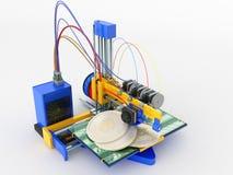 Het concept druk bitcoin op een 3d 3d printer geeft op w terug Royalty-vrije Stock Fotografie