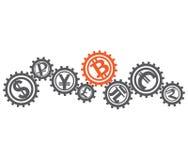 Het concept een globaal monetair stelsel met inbegrip van bitcoin Royalty-vrije Stock Afbeeldingen