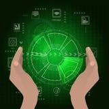 Het concept een netwerk van WiFi De greep van wachthanden Stock Afbeeldingen