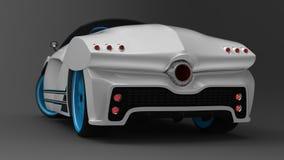 Het concept een sportwagencoupé is convertibel Het exclusieve en gestileerde stemmen van elektrische auto's 3d illustratie Stock Foto's