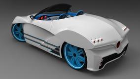 Het concept een sportwagencoupé is convertibel Het exclusieve en gestileerde stemmen van elektrische auto's 3d illustratie Royalty-vrije Stock Fotografie