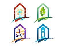 Het concept emblemenhuizen van verering aan christendom vector illustratie