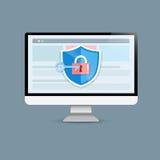 Het concept is gegevensbeveiligingtoegang Schild op Computerdesktop pro Stock Foto's