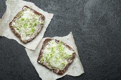 Het concept gewichtsverlies Sandwich van verse groenten micro- greens De ruimte van het exemplaar stock foto's